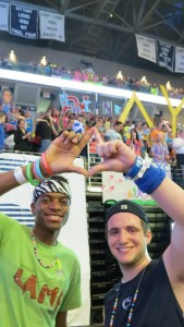 Brandywine THON Dancers Michael Mensah (Left) and Paul Alberici (Right) with Brandywine's THON organization in the background