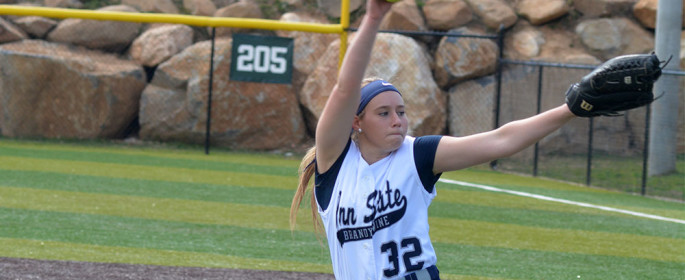 Freshman Grace DeRosa deals on the mound.